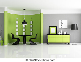 modern green dining room with circular wall - rendering