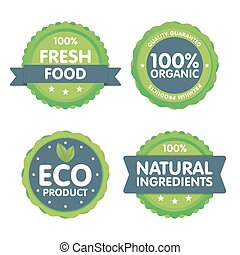 Modern green eco badge set. 100 percent organic fresh food label. Sticker vector illustration