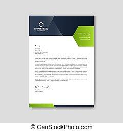 Modern green letterhead layout