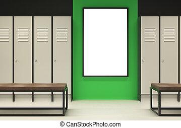 Modern green locker room with banner