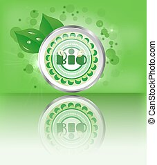 Modern, green, metal, round label with text Bio, leaves, lights, green background