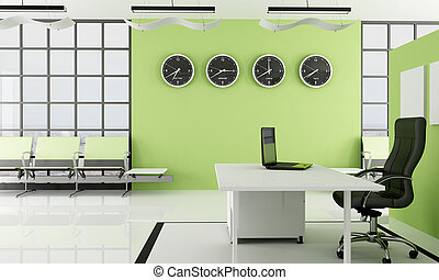 green office with waiting space - modern green office with...