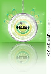 Modern, green, round label with text Organic, leaves, lights, green background
