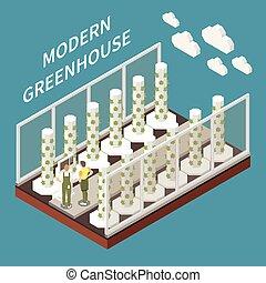 Modern Greenhouse Farming Concept