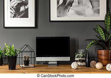 Modern grey workspace interior