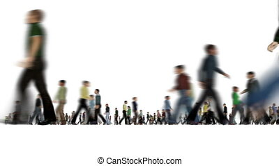 Modern group blurry walking people on white Active lifestyle Rush hour 4k