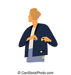 Modern guy careless put coins in holey pocket vector flat illustration. Male with coin falling out during inability planning expenses isolated on white. Concept of loss, spend or waste money.