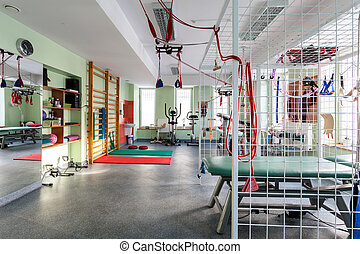 Modern gym - Colorful modern gym equipped with exercise ...