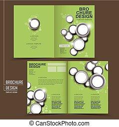 modern half-fold brochure template design in green