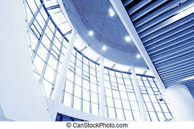 Modern hall at the top, modern building interiors.