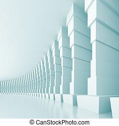 Modern Hall - 3d Illustration of Blue Modern Hall Background