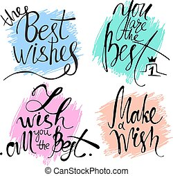 Modern hand drawn calligraphy. Typography poster designs. Lettering for print and posters. Set of greeting cards with calligraphy.