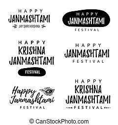 Modern hand drawn lettering Happy Janmashtami. Indian festival Krishna. Calligraphy for greeting card or banner.