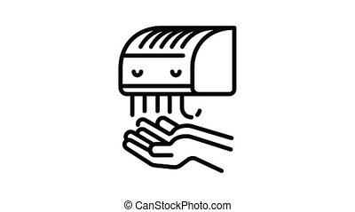 Modern hand dryer icon animation