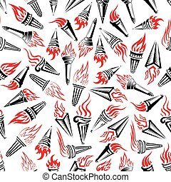Modern hand held flaming torches seamless pattern