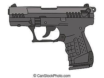 Modern handgun - Hand drawing of a modern handgun