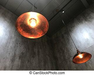 Modern hanging lamp and light bulb