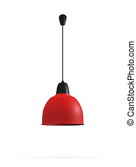 Modern Hanging Lamp - Modern red hanging lamp, isolated on...