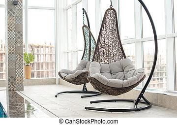 Modern hanging lounge chairs - Modern comfortable hanging...