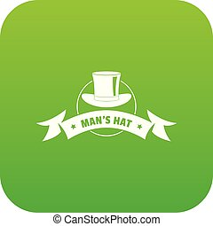 Modern hat icon green vector isolated on white background