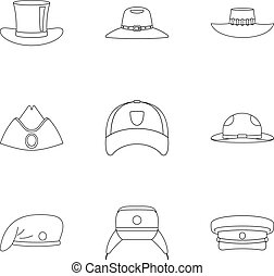 Modern hat icon set, outline style - Modern hat icon set....