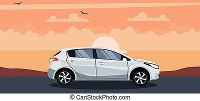 Modern hatchback background on a sunset at the beach
