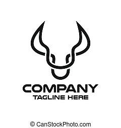 Modern head bull logo. Vector illustration.