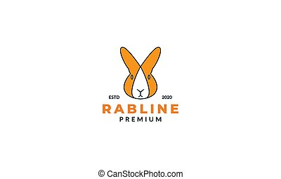 modern head face rabbit cute logo design line