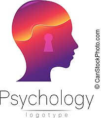 Modern head logo of Psychology. Profile Human. Creative style. Logotype in vector. Design concept. Brand company. Violet color isolated on white background. Symbol for web, print, card, flyer.