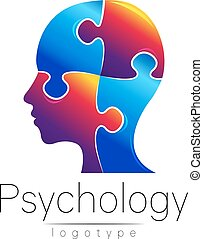Modern head puzzle logo of Psychology. Profile Human. Creative style. Logotype in vector. Design concept. Brand company. Blue color isolated on white background. Symbol for web, print, card, flyer.