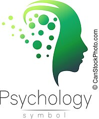 Modern head sign of Psychology. Profile Human. Creative style. Symbol in vector. Design concept. Brand company. Green color isolated on white background. Icon for web, print