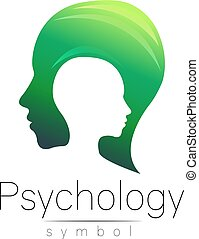 Modern head sign of Psychology. Profile Human. Creative...