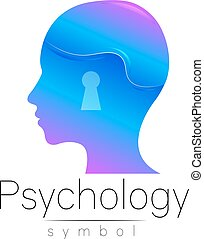 Modern head sign of Psychology. Profile Human. Creative style. Symbol in vector. Design concept. Brand company. Blue color isolated on white background. Icon for web, print. Keyhole