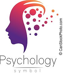 Modern head sign of Psychology. Profile Human. Creative style. Symbol in vector. Design concept. Brand company. Violet color isolated on white background. Icon for web, print