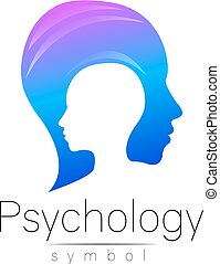 Modern head sign of Psychology. Profile Human. Creative style. Symbol in vector. Design concept. Brand company. Blue color isolated on white background. Icon for web, print