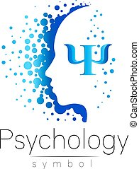 Modern head sign of Psychology. Profile Human. Letter Psi. Creative style. Symbol in vector. Design concept. Brand company. Blue color isolated on white background. Icon for web, print