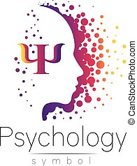 Modern head sign of Psychology. Profile Human. Letter Psi. Creative style. Symbol in vector. Design concept. Brand company. Violet color isolated on white background. Icon for web, print