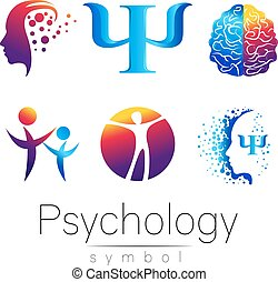 Modern head sign Set of Psychology. Profile Human. Creative style. Symbol in vector. Design concept. Brand company. Green orange blue violet color isolated on white background. Icon for web, print