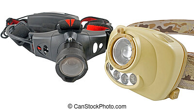 Modern headlamp LED flashlight on white