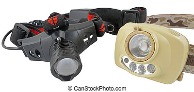 Modern headlamp LED flashlights on white background