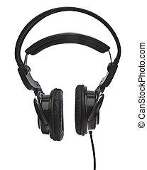 Modern headphones on white background