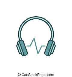 Modern headphones with sound wave vector colored icon