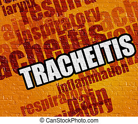 Modern health concept: Tracheitis on Yellow Wall.