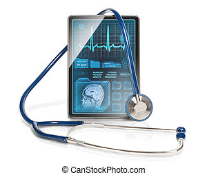 Modern healthcare - Modern tablet computer with medical...