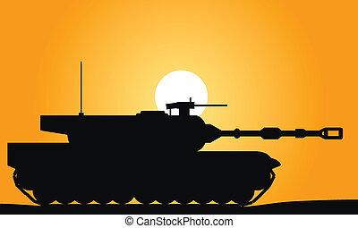 Modern heavy tank at sunset