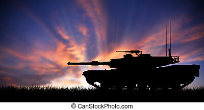 Modern heavy tank at sunset - Modern heavy tank isolated in...