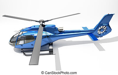 Modern helicopter - Modern blue helicopter on a light...