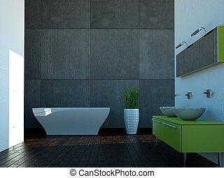 Städtisch, badezimmer, klo, moderner zeitgenosse, design ...