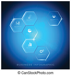 Modern Hexagon Business Infographic Background Design Template - Vector Design Background Pattern