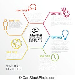 Modern hexagonal Infographic report template made from lines